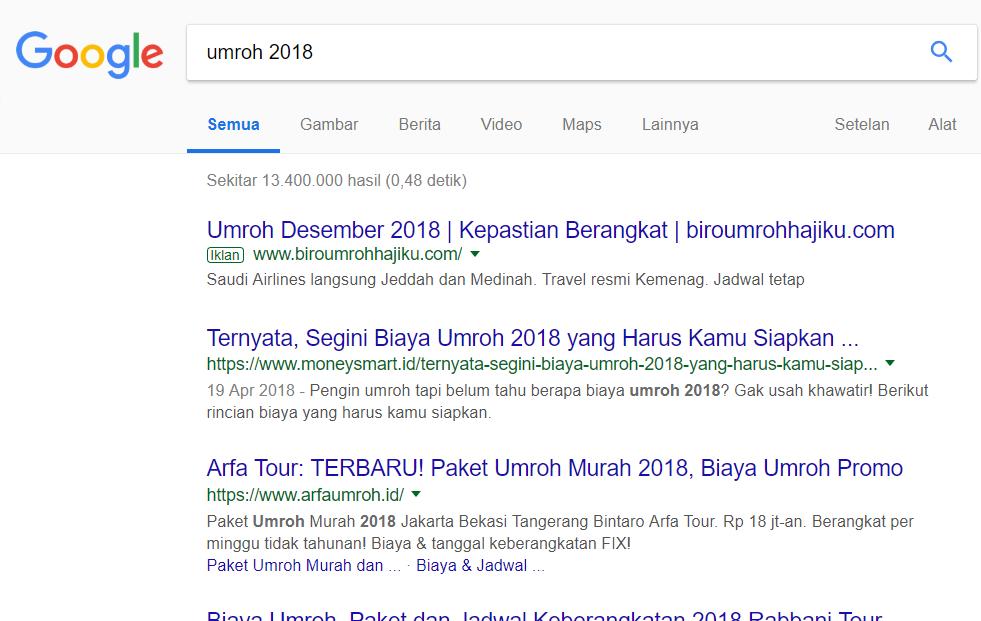 contoh seo umroh 2018